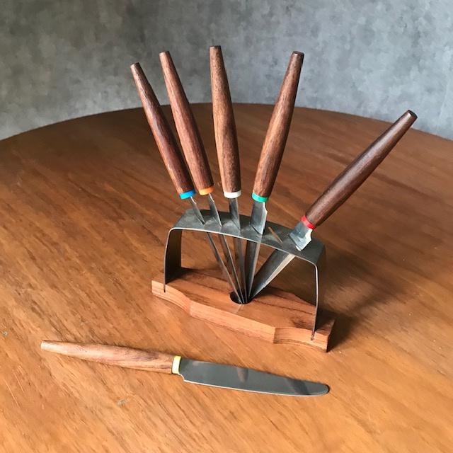 Vintage Deens houten messensetje
