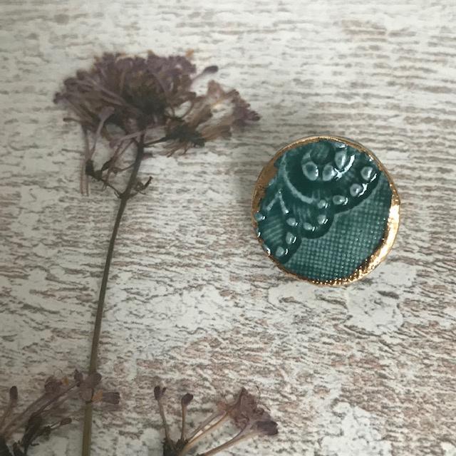 Broche Mella porselein Smaragd