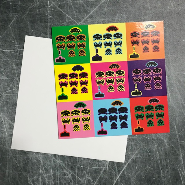 Ansichtkaart Space Invaders pop-art