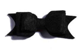 Haarclips Vilten Strik Zwart (2st)