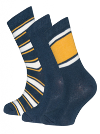 Ewers 3-Pack Socks 201167 Navy/Geel (0001)