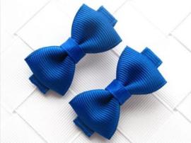 Haarclips Mini Strikjes Cobalt (2st)