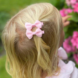 Haarclips Mini Strikjes Roze (2st)