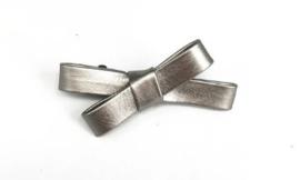 Haarclips Leren Mini Strik Zilver 6.5cm (2st)