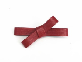 Haarclips Leren Mini Strik Rood 6.5cm (2st)