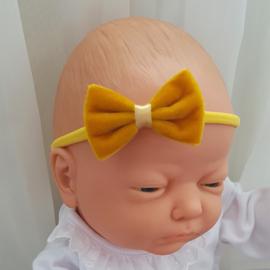Haarband Velvet Strik Mustard (645)