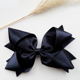 Haarclips Reuze Knoopstrik Satijn 15cm Zwart (900)