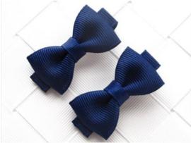 Haarclips Mini Strikjes Navy (2st)
