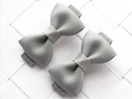 Haarclips Mini Strikjes Grijs (2st)