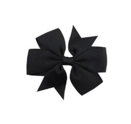Haarclips Vlinderstrik Zwart 8cm (2st)