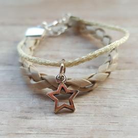 Armband leer goud-beige ster
