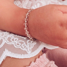 Baby Armbandje Roze Glaskraal