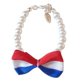 Rian Witte Parel-Armband Ribbon Strik Koningsdag