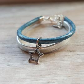 Armband leer blauw-zilver ster