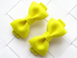 Haarclips Mini Strikjes Neon Geel (2st)