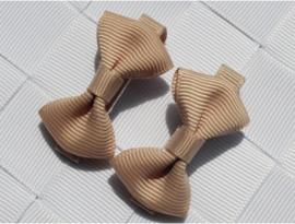 Haarclips Mini Strikjes Beige (2st)