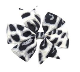 Haarclips Vlinderstrik Panterprint Grijs 8cm (2st)