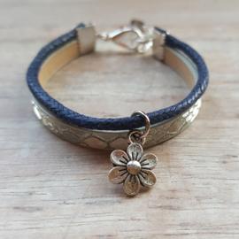 Armband leer navy-zilver bloem