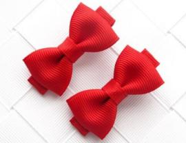 Haarclips Mini Strikjes Rood (2st)