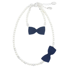 Rian Off White Parel-Sieraden Ribbon Strik AK202 Navy (480)