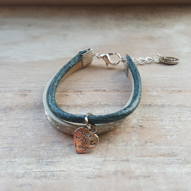 Armband leer blauw-zilver