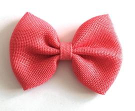 Haarclips Jute Strik (Koraal) Roze 10cm (1st)