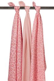 Meyco 3-pack Swaddle  120 x 120 cm Panter pink en lichtroze