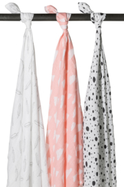 Meyco 3-pack swaddles 120 x 120 cm feather-clouds-dots grijs, roze en zwart