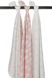 Meyco 3-pack Swaddle  120 x 120 cm  feather-clouds-dots roze