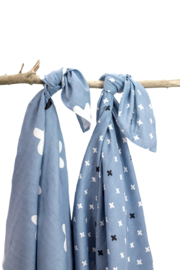 Briljant baby swaddles 2-pack CRIZZZCROZZZ SILVERBLUE 120 x 120 cm
