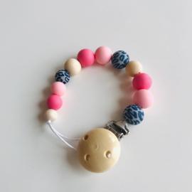 Speenkoord panter blauw/roze