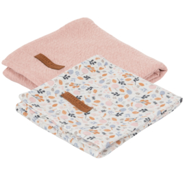 Little Dutch swaddle doek  Pure pink & spring flowers  (2-pack)