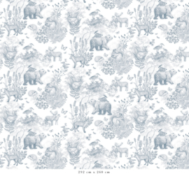Patroon Bosdieren blauw