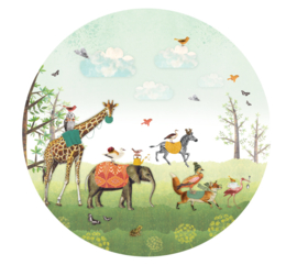Animal Parade blue - wallpaper circle