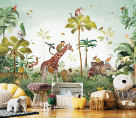 Jungle parade voor Willem | 393b x 230h cm
