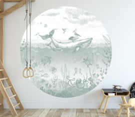 Whale World - wallpaper circle - selection of 7 colours