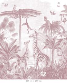 Giraffe & Spider Monkeys antique pink