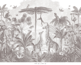 Giraf & slingeraapjes potloodgrijs voor Jantine | 264b x 239h cm