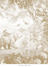 Bosdieren mosterd voor Annetta | 410b x 272h cm