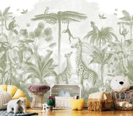 Giraf & slingeraapjes mosgroen