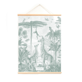 Schoolplaat Giraf en slingeraapjes | goudfolie