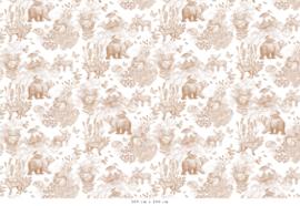 Patroon Bosdieren terracotta