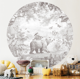 Forest Animals - wallpaper circle - selection of 7 colours