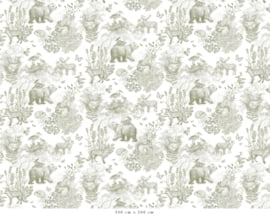 Behang Patroon Bosdieren groen | 340b x 260h cm