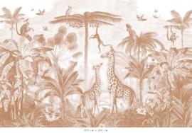 Giraf & slingeraapjes terracotta voor Inger | 305b x 305h cm