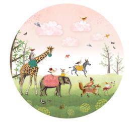 Animal Parade pink - wallpaper circle