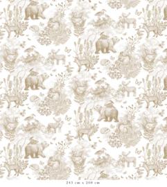 Patroon Bosdieren mosterd voor Maxine | 1365b x 270h cm