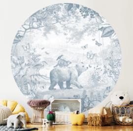 Behangcirkel Bosdieren blauw | 142,5 cm doorsnede