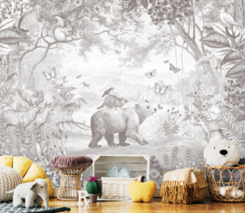 Bosdieren potloodgrijs voor Anne-Kirsten | 385b x 285h cm
