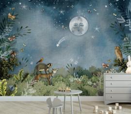 Bos in de nacht voor Ellis | 292b x 340h cm